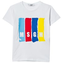 MSGM White Multi Colour Branded Tee 001