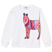 MSGM White Zebra Beaded Sweatshirt 001