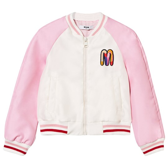 MSGM Pink Embroidered and Beaded Toucan Bomber Jacket 014