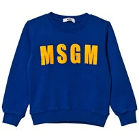MSGM Bright Blue Vintage Sweatshirt with Neon Branding 130