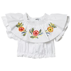 MSGM White Embroidered Frill Top