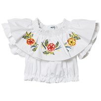 MSGM White Embroidered Frill Top 001