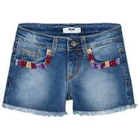 MSGM Blue Multi Embroidered and Beaded Denim Shorts 126