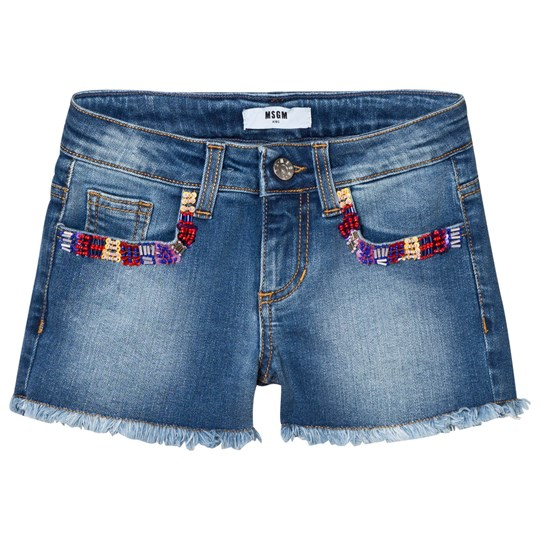 MSGM Multi Embroidered and Beaded Denim Shorts Blå 126