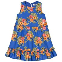 MSGM Blue Floral Frill Detail Dress 200