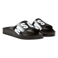 MSGM Black Branded Sliders 110