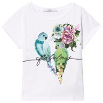Relish White Parrot and Flower Embellished Tee 100
