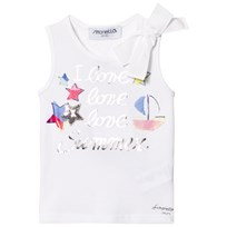 Simonetta White I Love Summer Print Vest with Bow Detal GD070 100