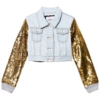 Relish Light Wash Denim and Sequin Sleeve Jacket 820