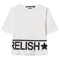 Relish White and Metalllic Gold Branded Cropped Tee