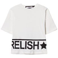 Relish White and Metalllic Gold Branded Cropped Tee 410