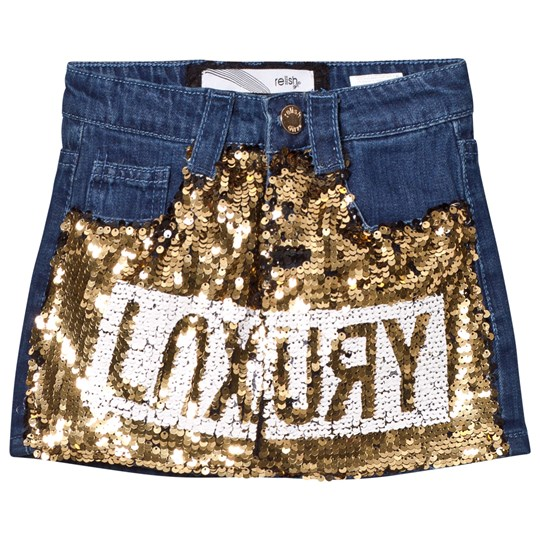 Relish Dark Denim and Gold Sequin Skirt 820