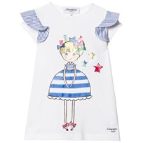 Simonetta Girl Print Top with Stripe Frill Sleeves White GD070 100
