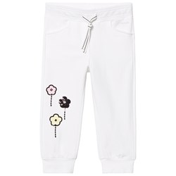 Simonetta Sequined Floral Print Track Pants White
