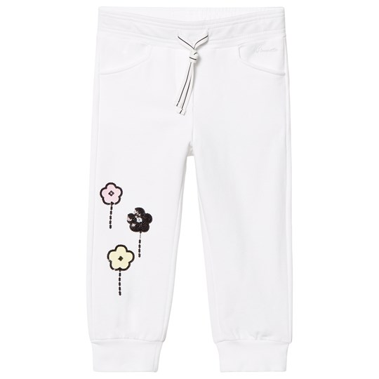 Simonetta Sequined Floral Print Track Pants White GX070 100