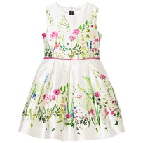 Oscar De La Renta Floral Border Mikado Party Dress White Multi