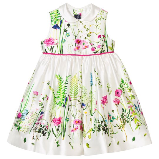Oscar De La Renta Botanical Border Mikado Pinafore Dress White Multi