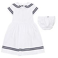 Oscar De La Renta White and Navy Cotton Sailor Dress Navy White