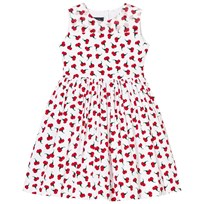 Oscar De La Renta Red Carnation Print Party Dress WHITE CHERRY