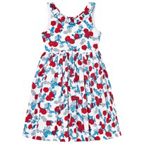 Oscar De La Renta Red and Blue Floral V Back Dress CHERRY OCEAN