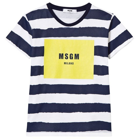 MSGM Navy Stripe and Branded Tee 200