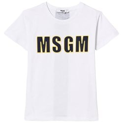 MSGM White Embroidered Branded Tee
