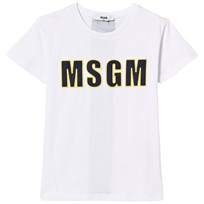 MSGM White Embroidered Branded Tee 001