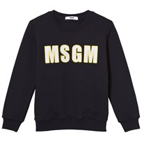 MSGM Navy Branded Sweatshirt with Stripe on Back 060