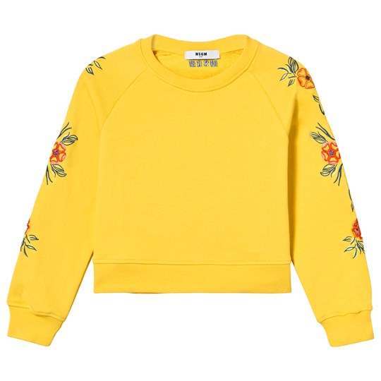 MSGM Yellow Floral Embroidered Sleeve Cropped Sweatshirt 020