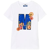 MSGM White Embroidered M and Flower Tee 001