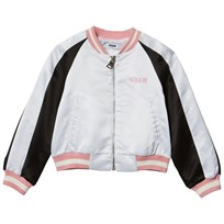 MSGM White and Pink Glitter Logo Bomber Jacket 001/01