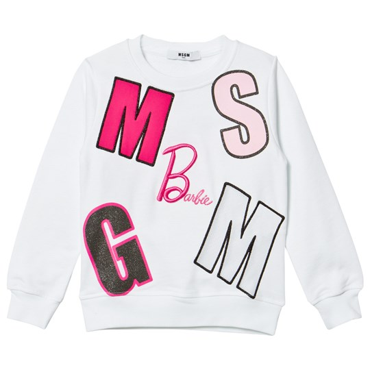 MSGM White Multi Logo Barbie Sweatshirt 001