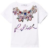 Relish White Embellished Neckline Tee 100