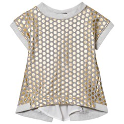 Relish Grey Marl and Gold Spot Cropped Sweatshirt with Back Detail