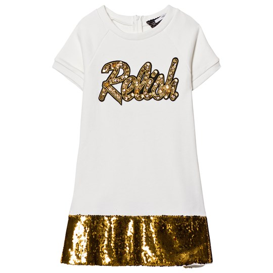 Relish Cream and Gold Sequin Detail Sweat Dress 410