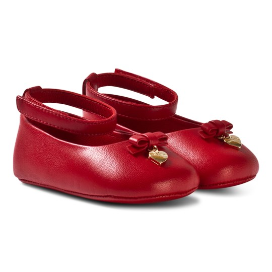 Dolce & Gabbana Red Leather Crib Shoes with Charm 80318