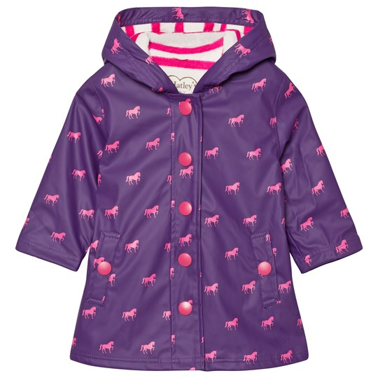 Hatley Purple Horses Print Fleece Lined Raincoat Purple