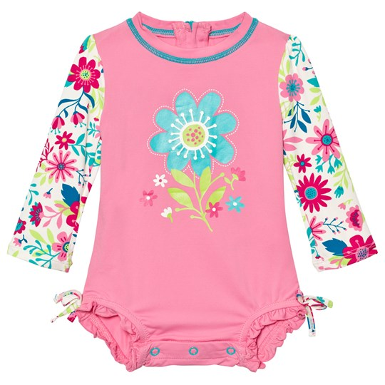 Hatley Pink Flower Print Swimsuit Turquoise