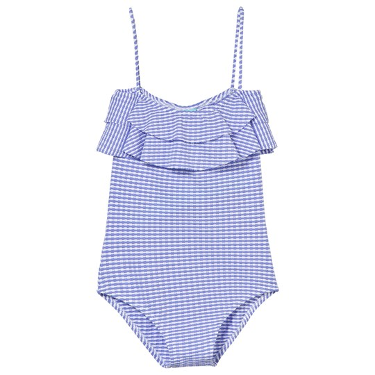 Melissa Odabash Blue and White Ribbed Frill Swimsuit CORNFLOWER RIBBED