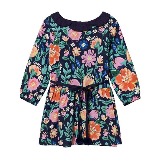 Margherita Kids Multi Digital Print Floral Dress with Daisy Collar and Pom Pom Belt NAVY MULTI