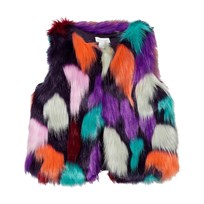 Margherita Kids Multi Colour Faux Fur Gilet NVY MULTI