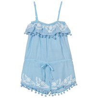 Melissa Odabash Pink Embroidered and Pom Pom Playsuit Pale Blue