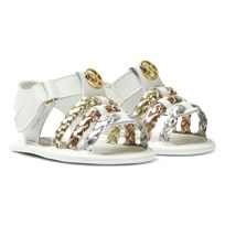 Michael Kors White Zia Baby Teza Metallic Strap Sandals White