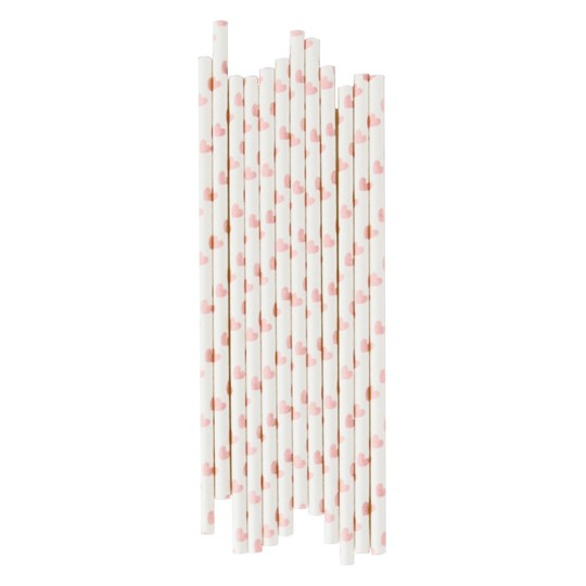 My Little Day 25 Paper Straws - Light Pink Hearts light pink hearts