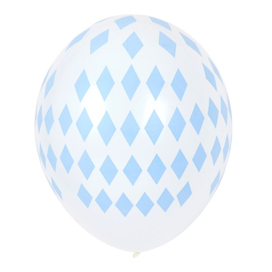 My Little Day 5 Printed Balloons - Light Blue Diamonds light blue diamonds