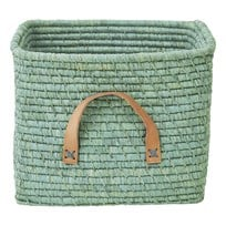 Rice Small Square Raffia Basket with Leather Handles Mint Grønn