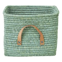 Rice Small Square Raffia Basket with Leather Handles Mint Green