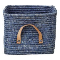 Rice Small Square Raffia Basket Leather Handles Blue Sand