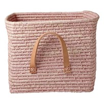 Rice Small Square Raffia Basket Leather Handles Soft Pink Lyserød