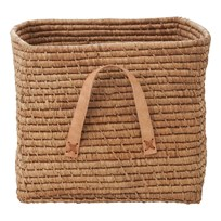 RICE A/S Small Square Raffia Basket Leather Handles Tea Brown